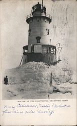 Winter at the Lighthouse Postcard