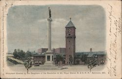 Monument Erected by the Daughters of Revolution & Mt. Royal Station & O.R.R.