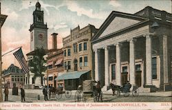Duval Hotel, Post Office, Castle Hall, National Bank of Jacksonville Postcard