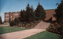 The Rock Garden and High School Postcard
