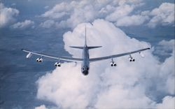 Bomber Coming In The Boeing B-52G Flies at More that 650 M.P.H.