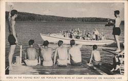 Rides in the Fishing Boat are Popular with Boys at Camp Sherwood on Walloon Lake Postcard