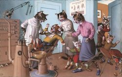 Cats at the Dentist Postcard