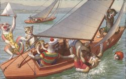 Cats on Tipping Sail Boat