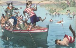 Cats Fishing In A Boat Catching A Cat CB. 46