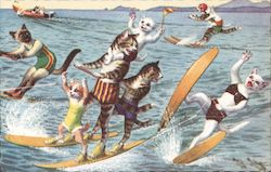 Cats on Surfboards in the Ocean