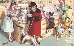 Anthropomorphic cats shopping for greeting cards