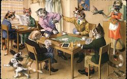 Cats Playing Cards and Reading Dog Barking Mice Running