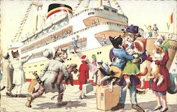 Cats Hurriedly Boarding a Cruise Ship