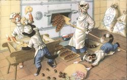 Cats Baking Bread One Cat Tripped