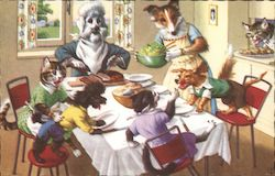 Anthropomorphic dog family serving dinner