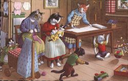 Anthropomorphic cats playing and sewing