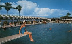 The Beautiful Large Pool of the Palm Beach Biltmore Hotel Postcard