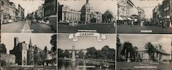 Cardiff, St. Mary Street, City Hall and Museum, Queen Street, Cardiff Castle, The Lake, Roath Park, National Museum of Wales Large Format Postcard
