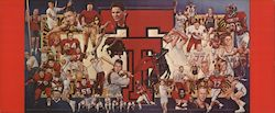 Texas Tech University Athletic Mural (1980) Large Format Postcard