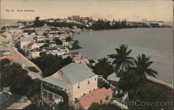 Aerial View of Town and Bay Port Antonio Jamaica