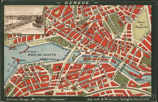 Map of Geneva with Legend - Churches, Services, Hotels Switzerland