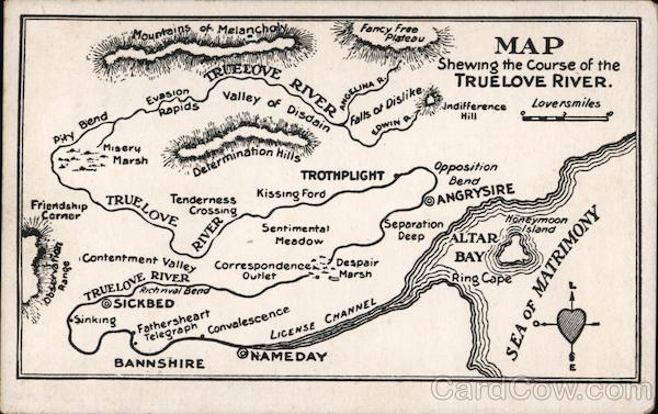 Map showing the course of True Love River Romance & Love