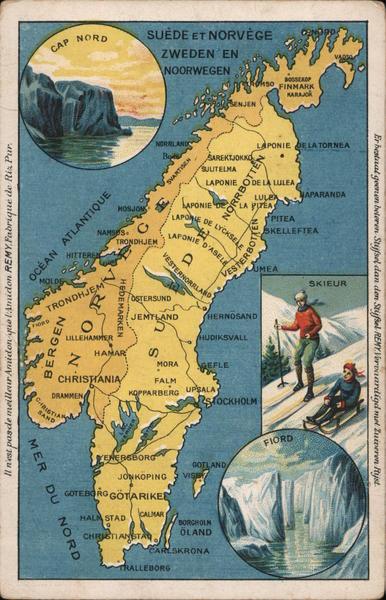 Map of Sweden & Norway (Suede et Norvege)