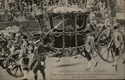 Coronation of King George V. The King and the Queen returning to the Buckingham Palace Postcard