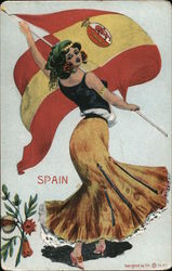 Spanish Flag, Woman in Traditional Costume Postcard