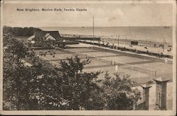 New Brighton, Marine Park, Tennis Court Postcard