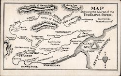 Map showing the course of True Love River Postcard