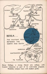 Berea College, the halfway point between the north and south Postcard