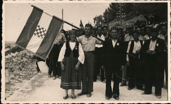 People with the Flag of the Croatian Peasant Party (HSS) Betina