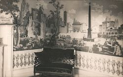 Parlor in the Home of Hazel Bixby with Wallpaper from France Postcard