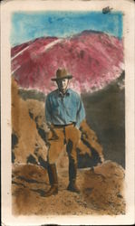 Hand colored Photograph of Man on Mountain