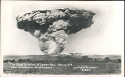 The Great Eruption of Lassen Peak - May 22, 1915, Taken at Anderson, 50 Miles Away Postcard