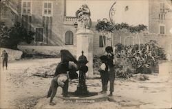 Children Drinking from a Fountain Postcard