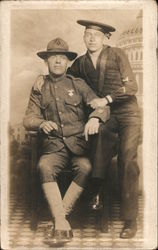 Portrait Snapshot of Soldier and Sailor