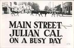 Main Street on a Busy Day - Cattle Crossing Postcard