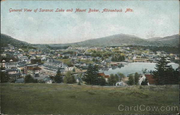 General View of Saranac Lake and Mount Baker, Adirondack Mts. New York