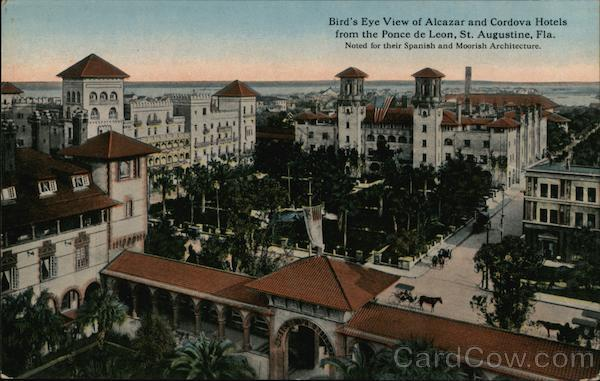 Bird's Eye View of Alcazar and Cordova Hotels From the Ponce de Leon St. Augustine Florida