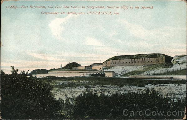 Fort Burvoucas, Old Fort San Carlos in the Foreground, Built in 1697 By the Spanish Pensacola Florida