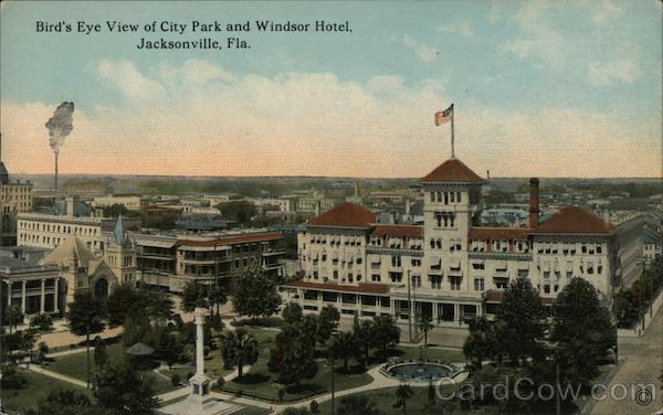 Bird's Eye View of City Park and Windsor Hotel Jacksonville Florida