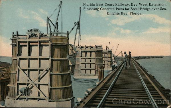 Knights Key Florida East Coast Railway, Key West Extension, Finishing Concrete Piers for Steel Bridge over Sea