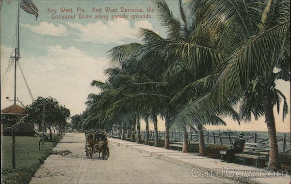 Key West Barracks, the Cocoanut Drive along parade grounds Florida