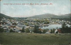 General View of Saranac Lake and Mount Baker, Adirondack Mts. Postcard