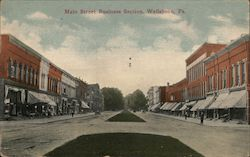 Main Street Business Section Postcard