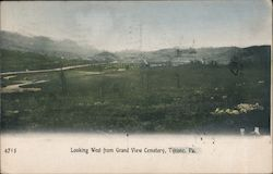 Looking West From Grand View Cemetery Postcard