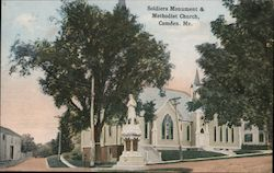 Soldiers Monument & Methodist Church Postcard