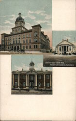 City Hall, Burned 1866, Rebuilt 1867 - 68. Old Town Hall, Built 1825, Present Site Soldiers Monument, Old Court House 1816 - 1858, Present Site City Hall