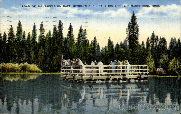 Load Of Sightseers On Raft Manistique Michigan
