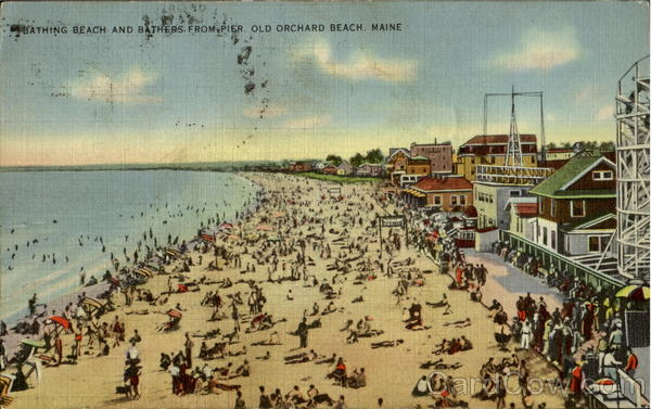 Bathing Beach And Bathers Old Orchard Beach Maine