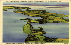 Bird's Eye View Of Lake Champlain Postcard