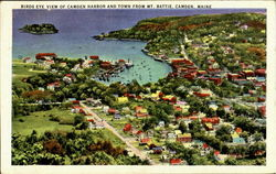 Birds Eye View Of Camden Harbor And Town, Mt. Battie Postcard